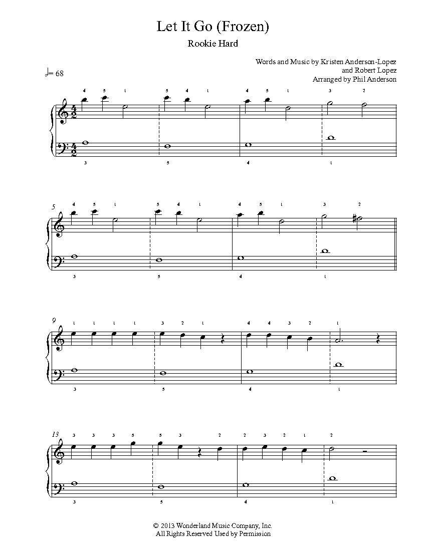 Let It Go By Frozen Piano Sheet Music Rookie Level