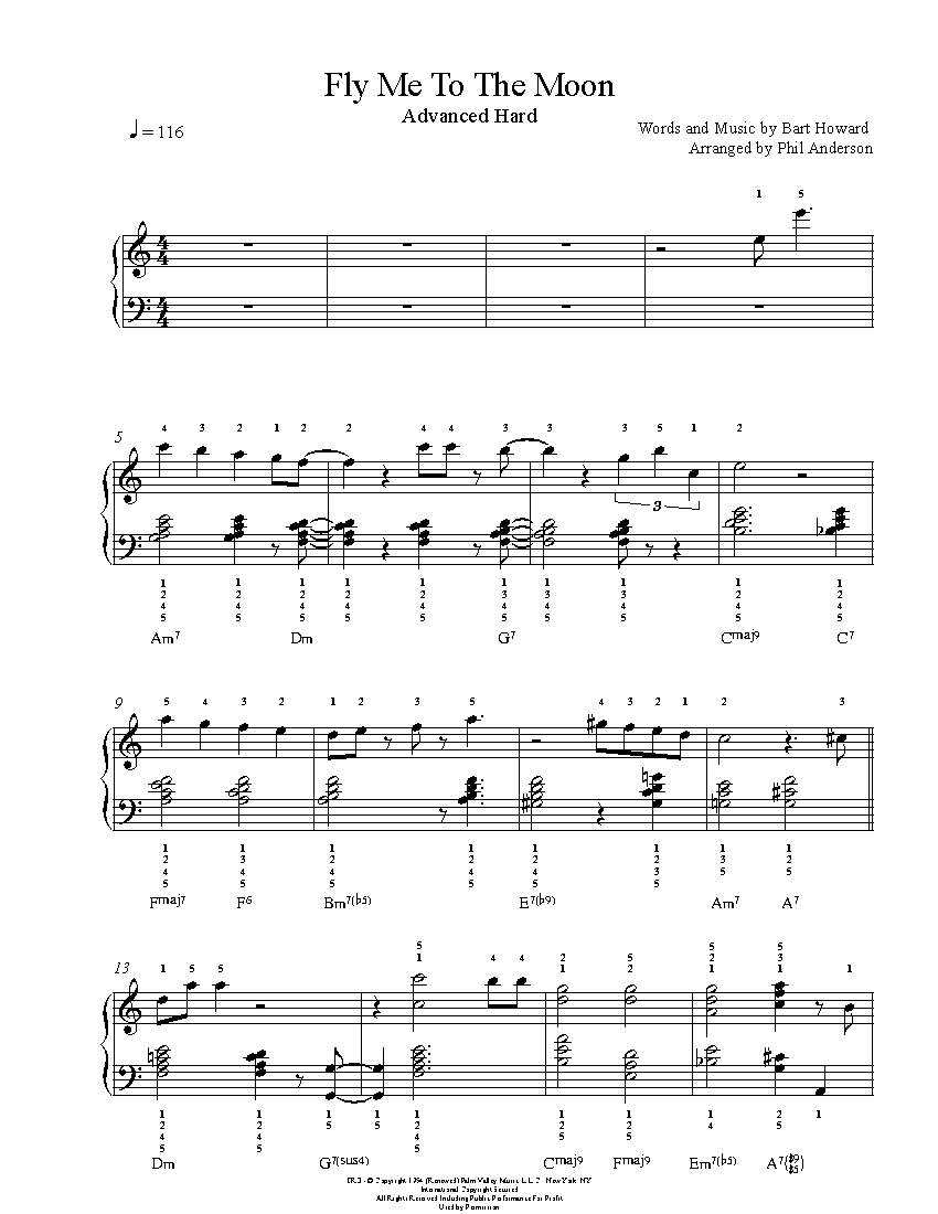 Fly me to the moon by frank sinatra piano sheet music advanced level fly me to the moon piano sheet music hexwebz Choice Image