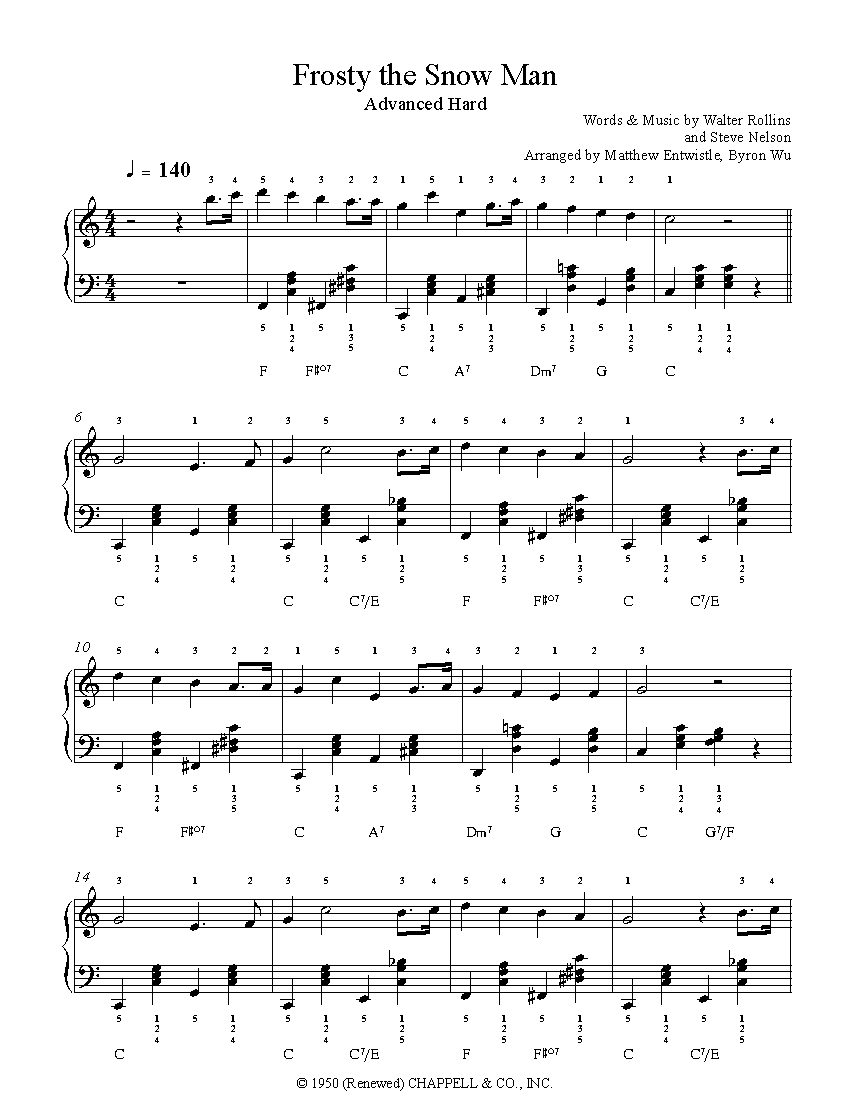photo relating to Frosty the Snowman Sheet Music Free Printable named Frosty The Snow Person through Steve Nelson Piano Sheet Tunes