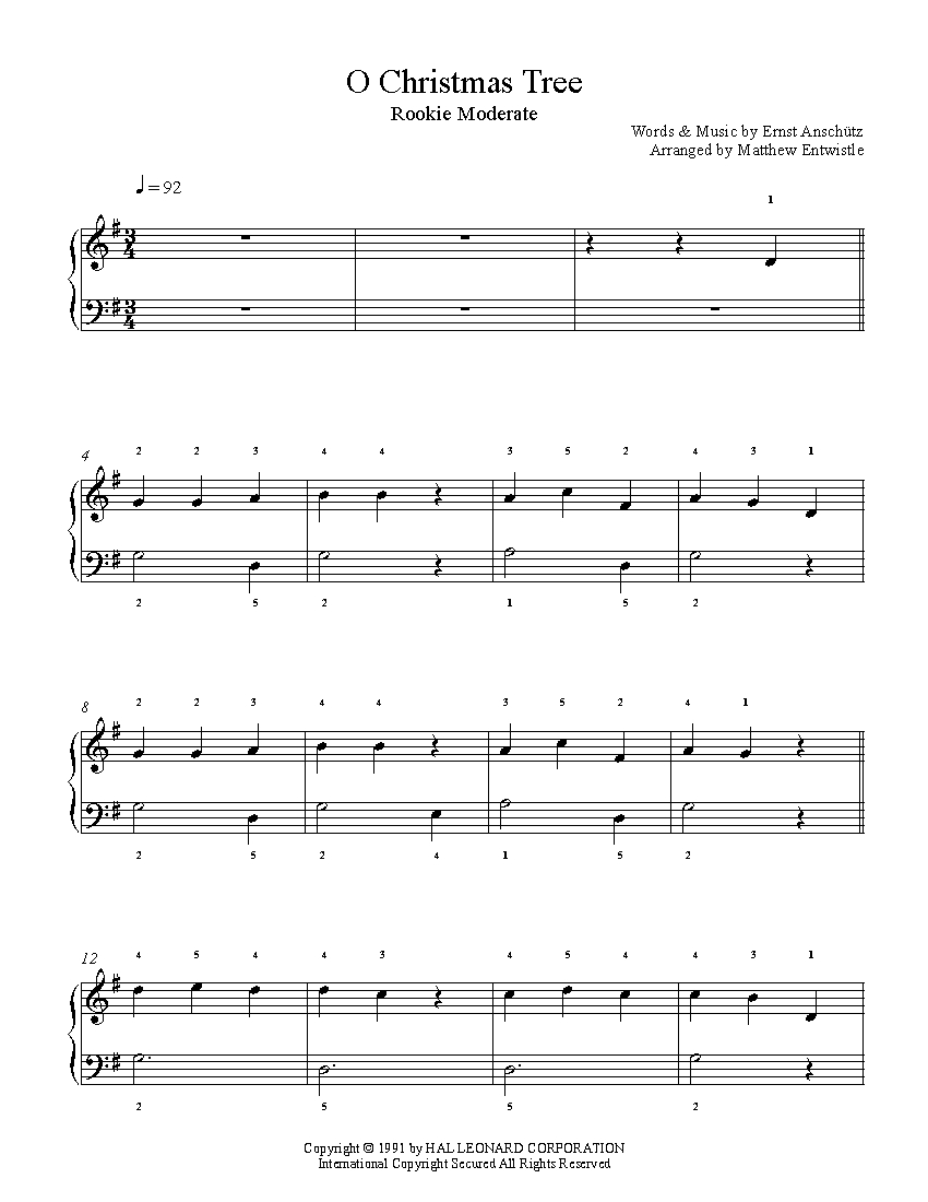 O Christmas Tree by Traditional Piano Sheet Music | Rookie Level