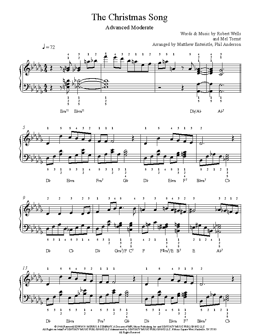 The Christmas Song by Nat King Cole Piano Sheet Music | Advanced Level