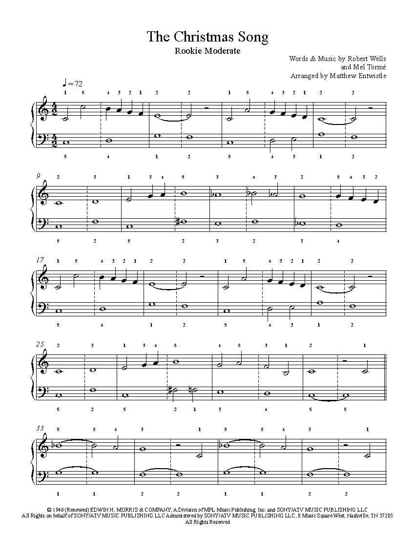 The Christmas Song by Nat King Cole Piano Sheet Music | Rookie Level