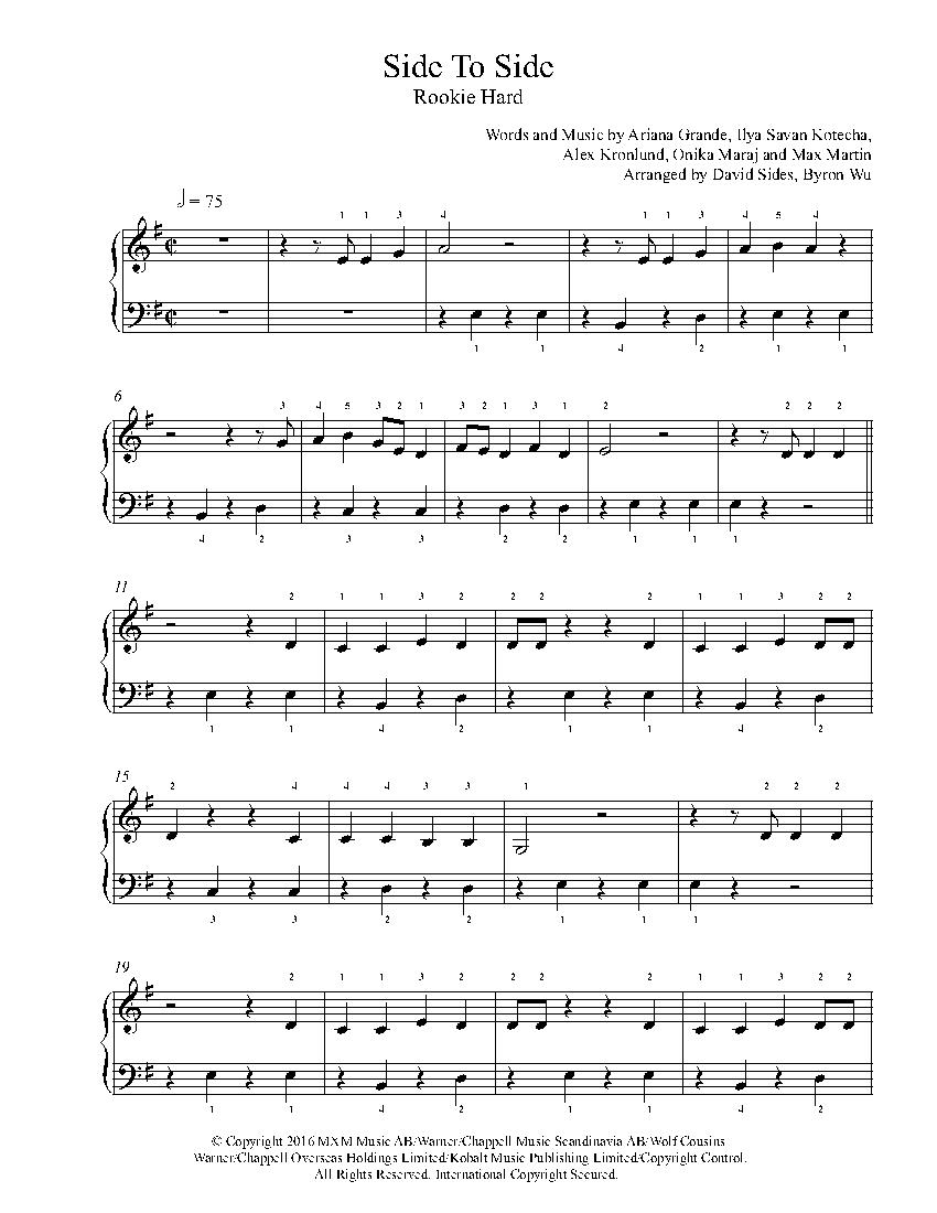Side To Side By Ariana Grande Ft Nicki Minaj Piano Sheet