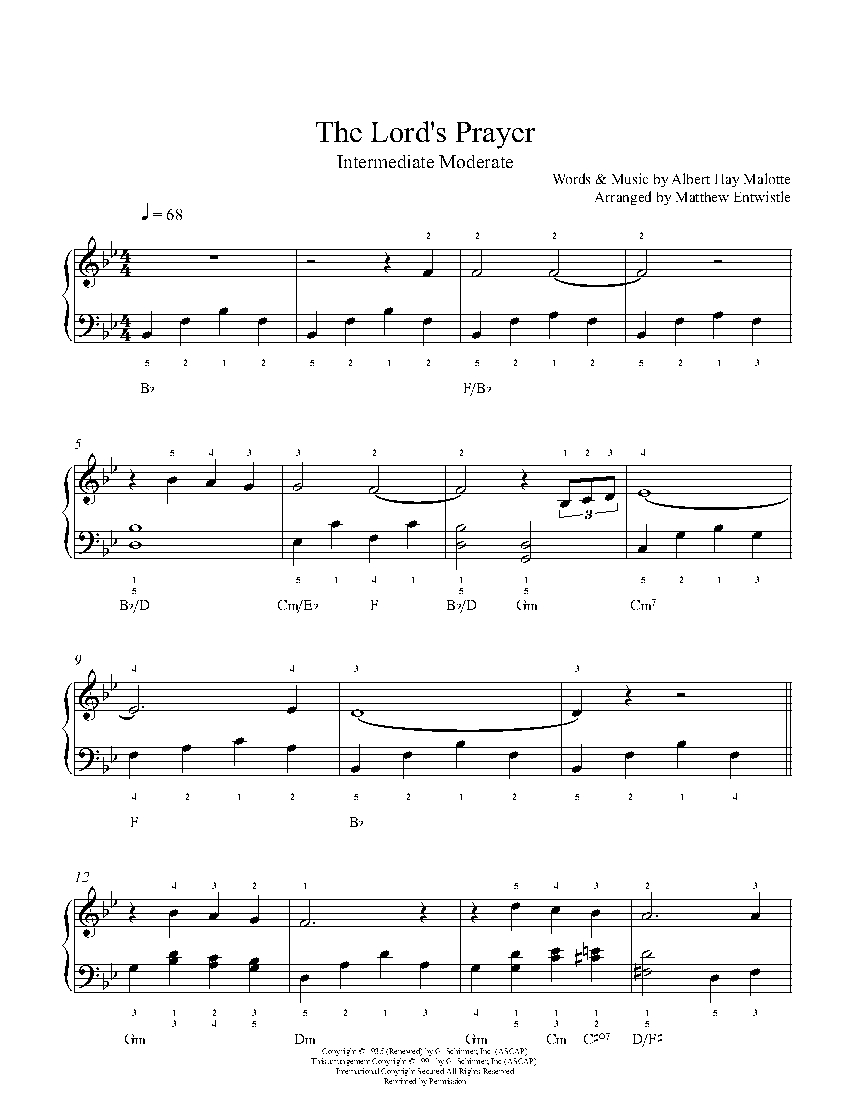 the lord u0027s prayer by albert hay malotte piano sheet music