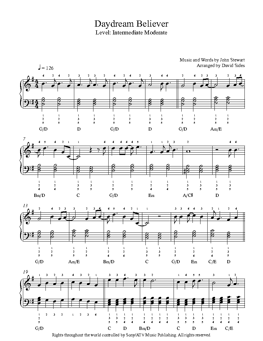 how to play daydream believer on piano