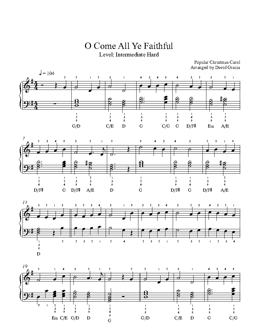 how to play o come all ye faithful on piano
