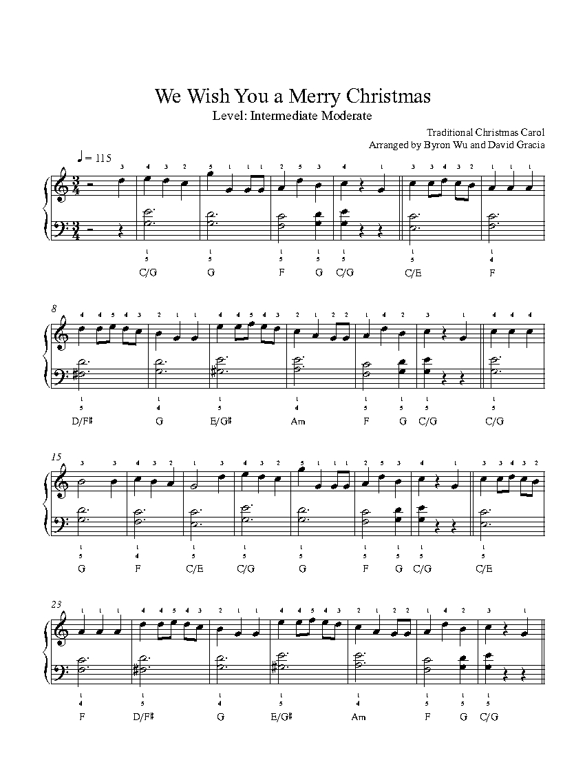 We wish you a merry christmas by traditional piano sheet for Classic house music songs
