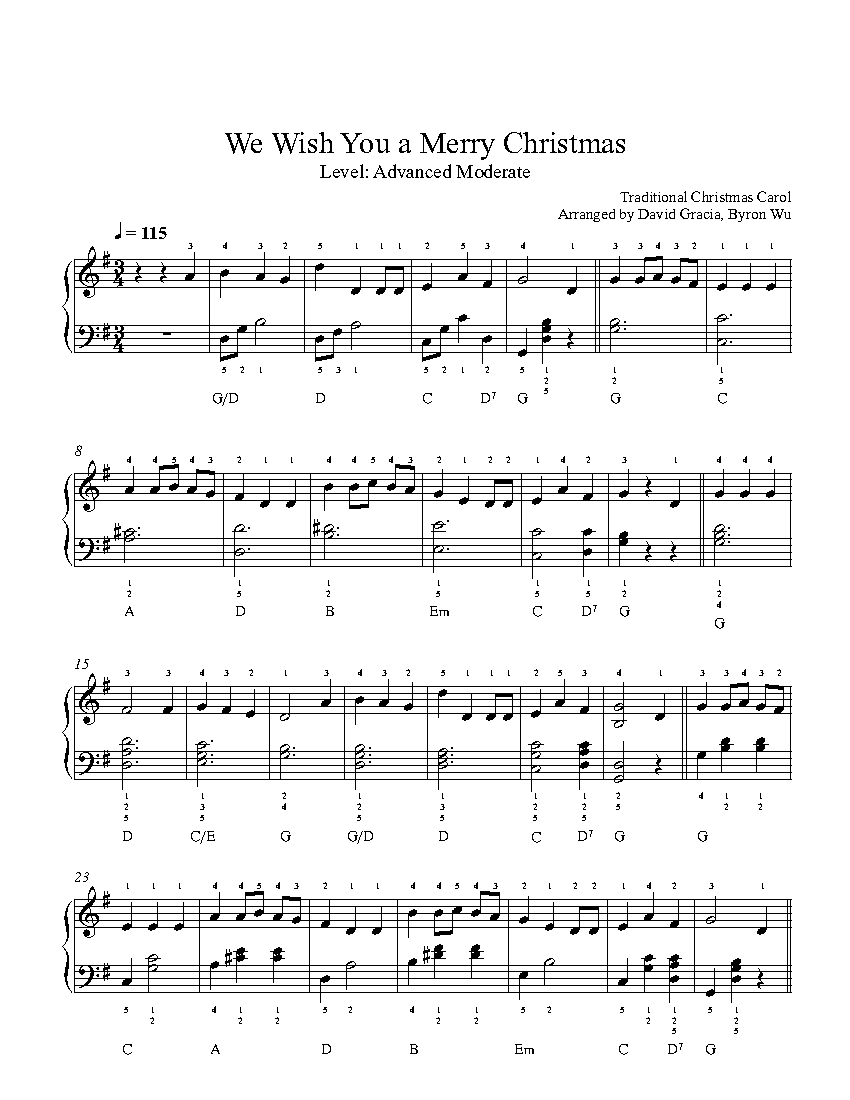 We Wish You a Merry Christmas by Traditional Piano Sheet Music ...