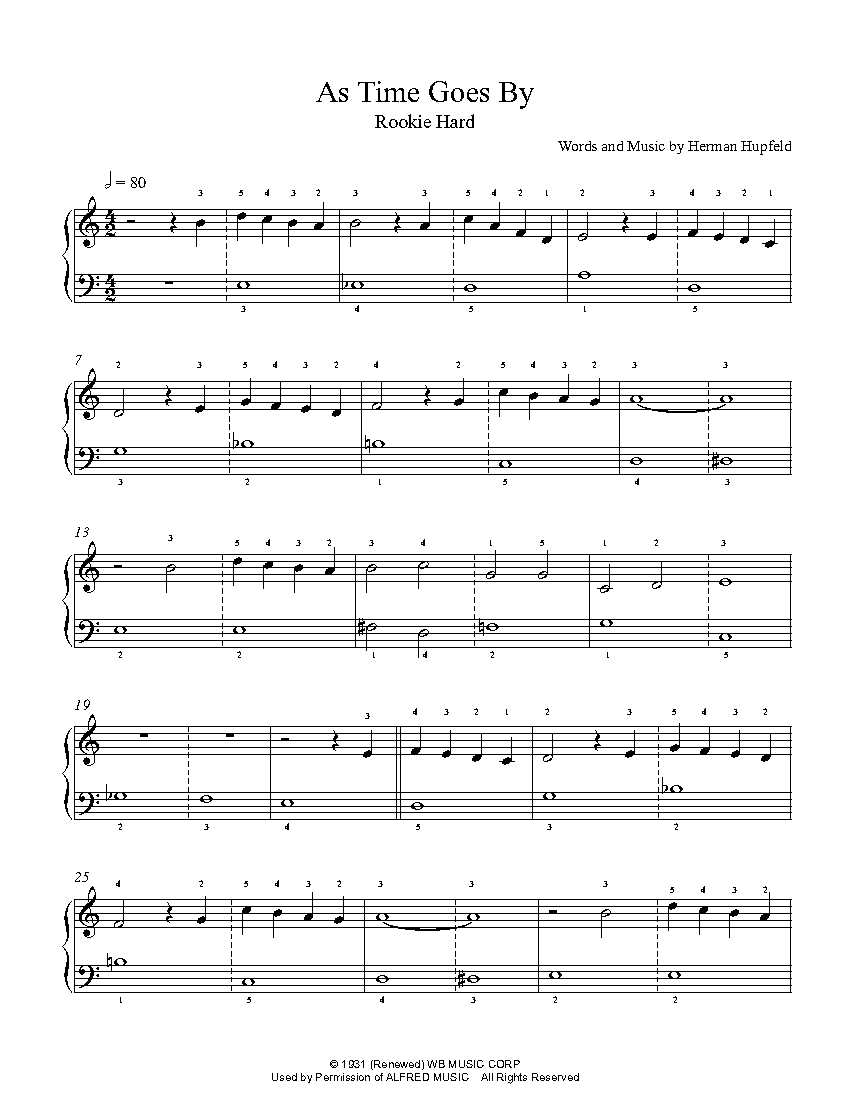 As Time Goes By by Herman Hupfeld Piano Sheet Music | Rookie Level