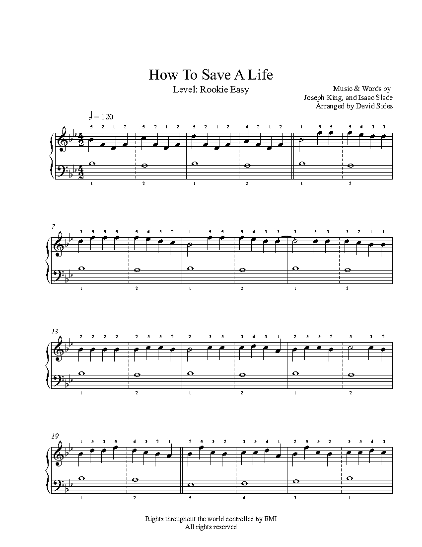 How to Save a Life by The Fray Piano Sheet Music : Rookie Level
