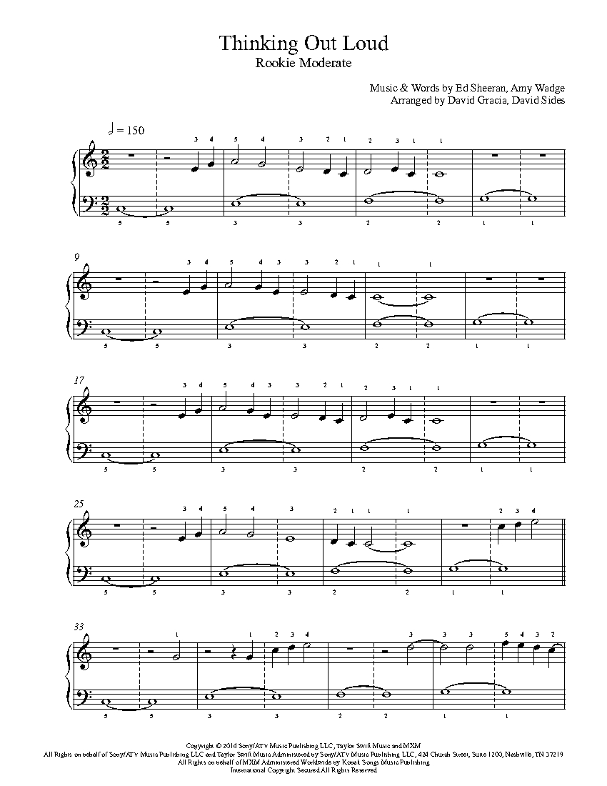 Thinking Out Loud By Ed Sheeran Piano Sheet Music Rookie Level