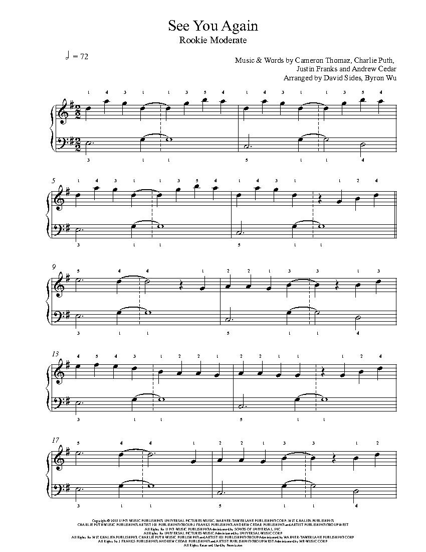 See You Again by Wiz Khalifa ft  Charlie Puth Piano Sheet