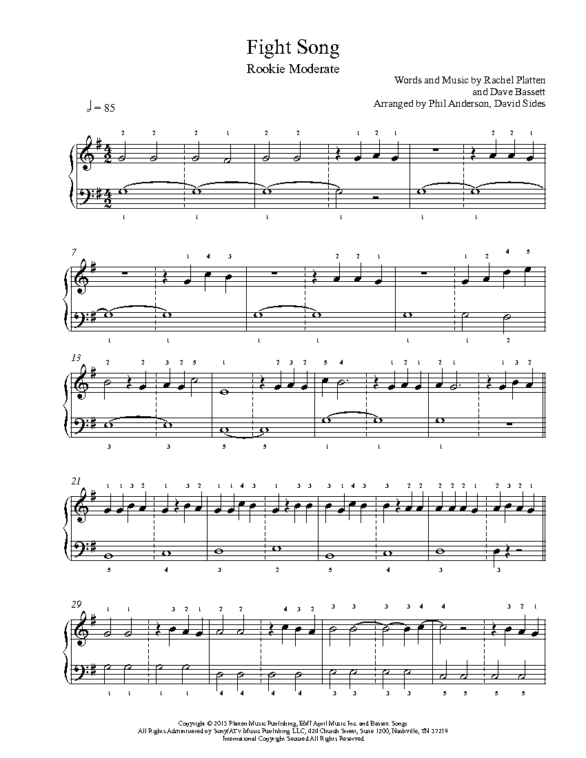 fight song sheet music pdf