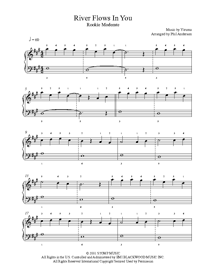 River Flows In You By Yiruma Piano Sheet Music Rookie Level