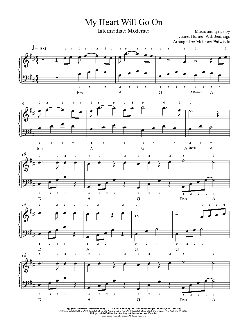 Crafty image with my heart will go on piano sheet music free printable