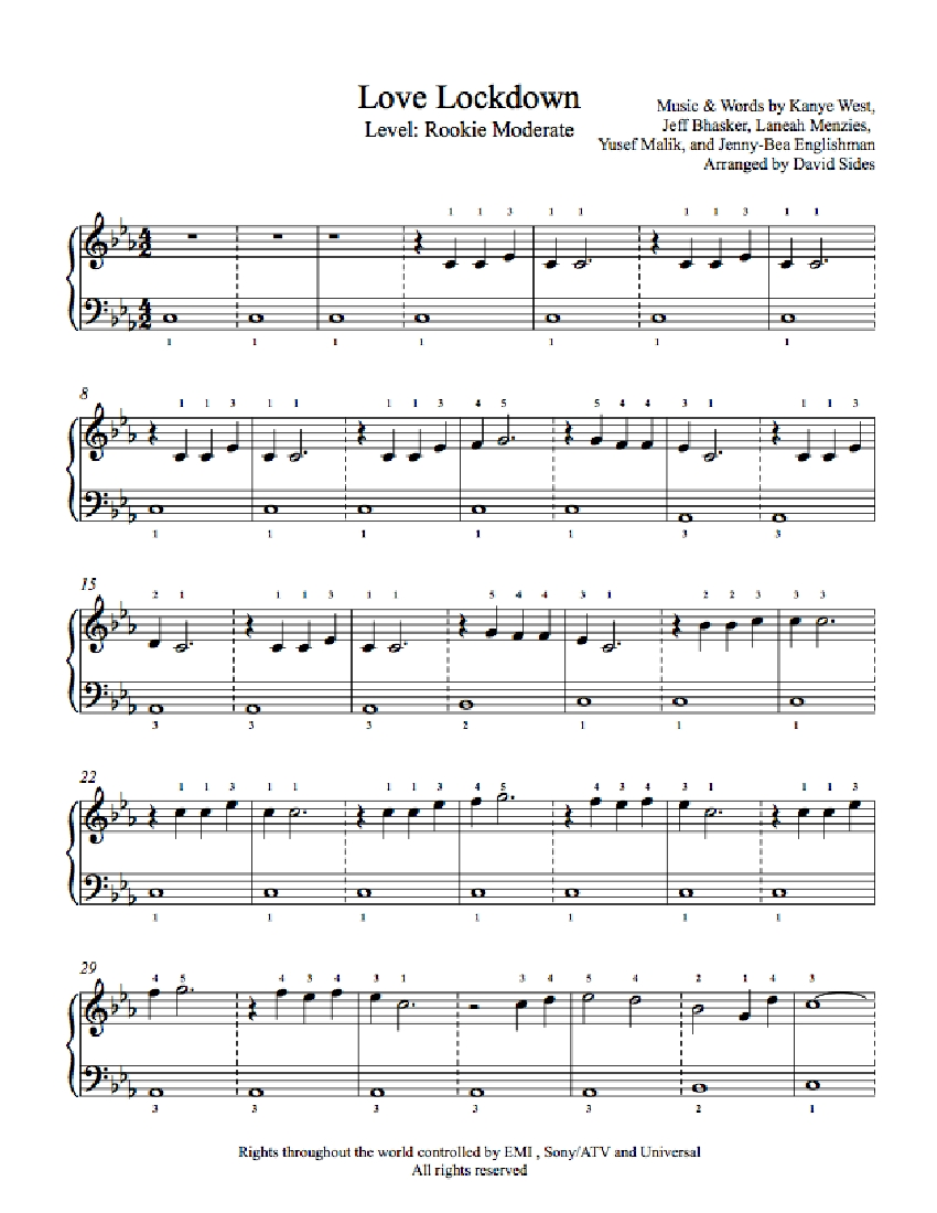 Love Lockdown by Kanye West Piano Sheet Music : Rookie Level