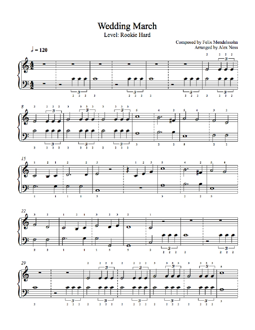 Wedding March By Felix Mendelssohn Piano Sheet Music