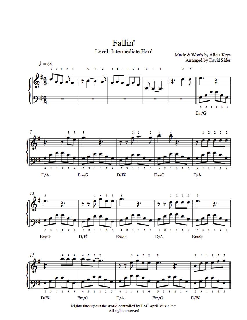 fallin piano sheet music pdf
