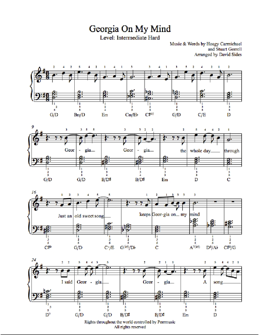 georgia on my mind by ray charles piano sheet music intermediate level. Black Bedroom Furniture Sets. Home Design Ideas
