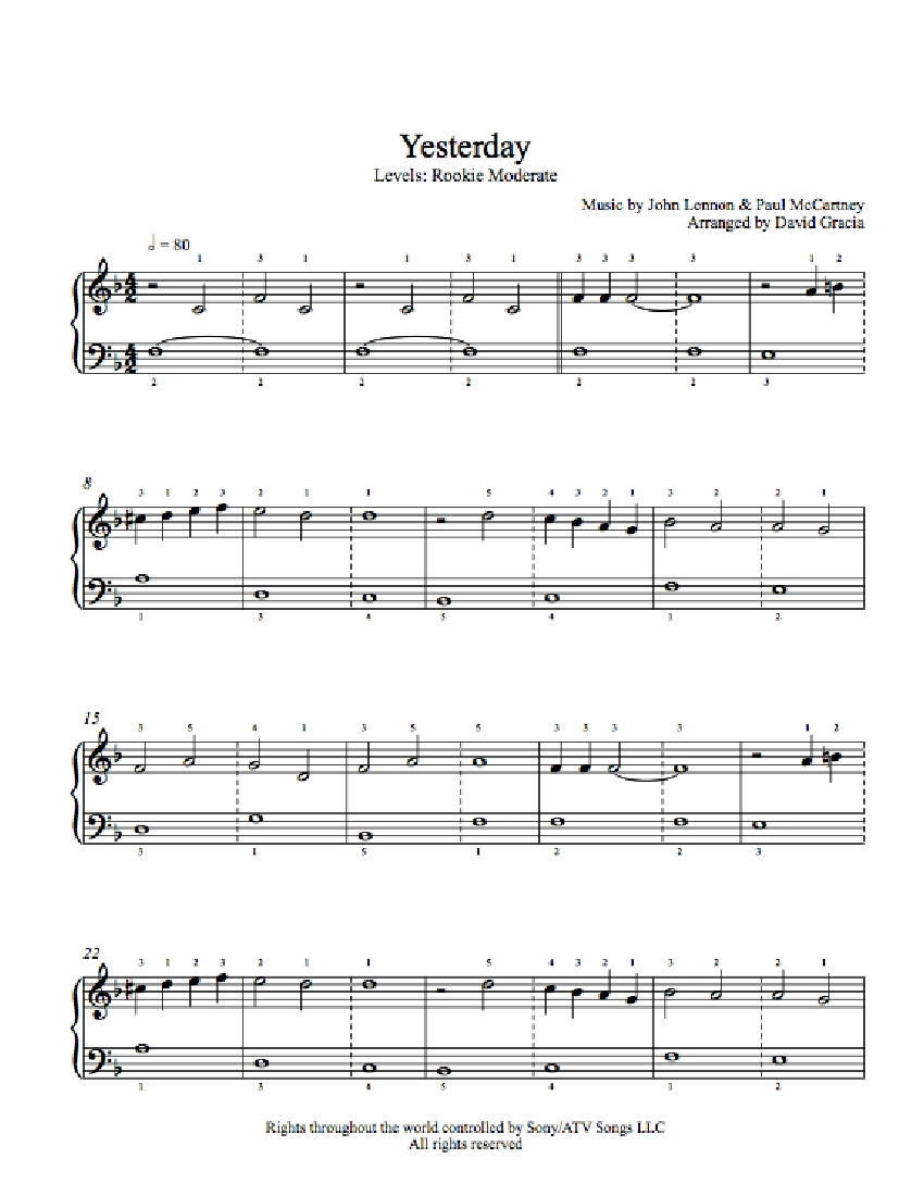 Yesterday By The Beatles Piano Sheet Music Rookie Level