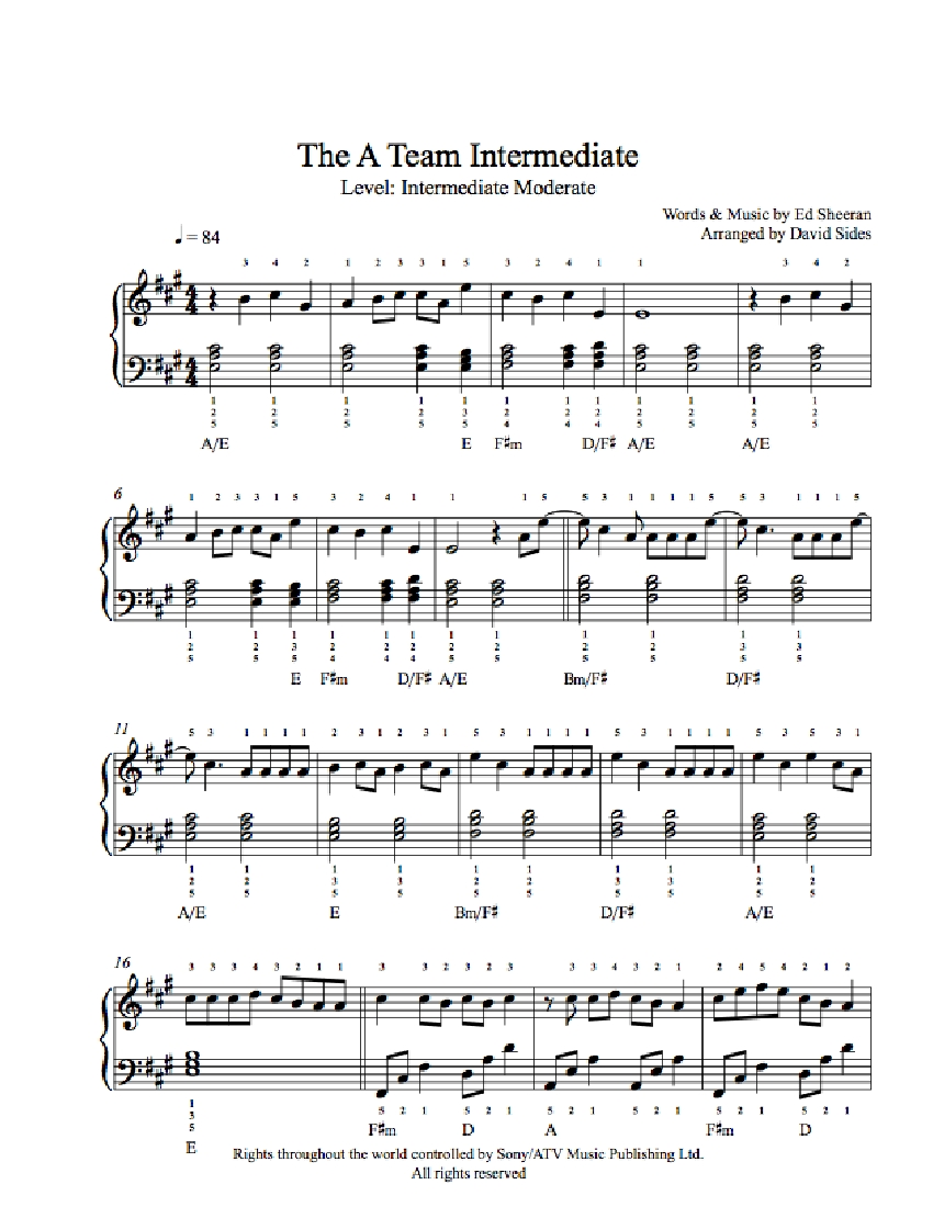 The A Team by Ed Sheeran Piano Sheet Music | Intermediate Level
