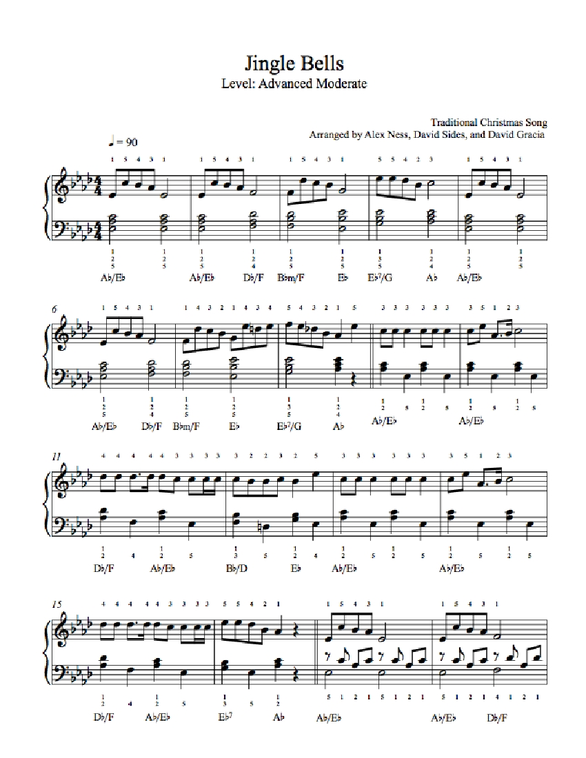 jingle bellstraditional piano sheet music   advanced level