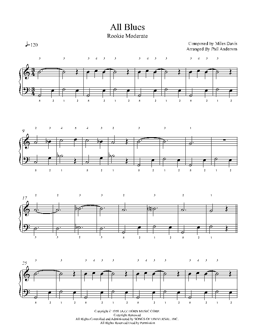 All Blues by Miles Davis Piano Sheet Music | Rookie Level