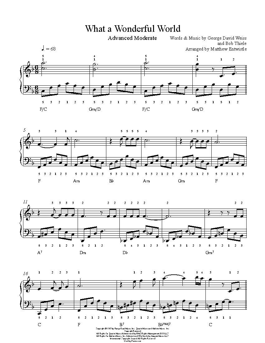 What A Wonderful World By Louis Armstrong Piano Sheet Music Advanced Level