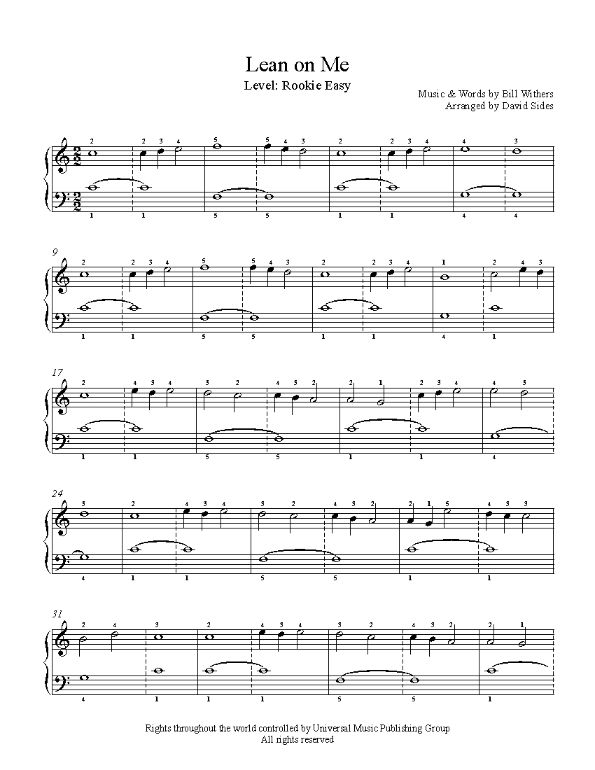 graphic about All of Me Easy Piano Sheet Music Free Printable identify Lean Upon Me by way of Invoice Withers Piano Sheet Songs Beginner Point