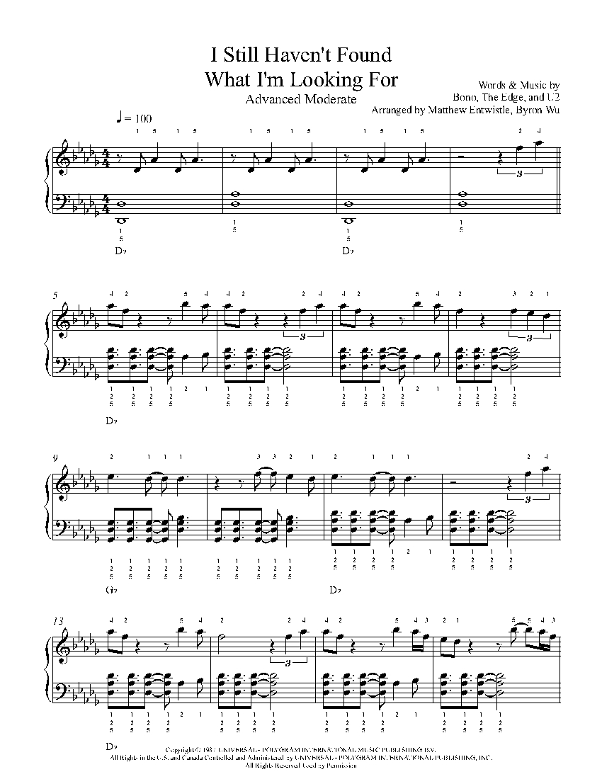 I Still Havent Found What Im Looking For By U2 Piano Sheet