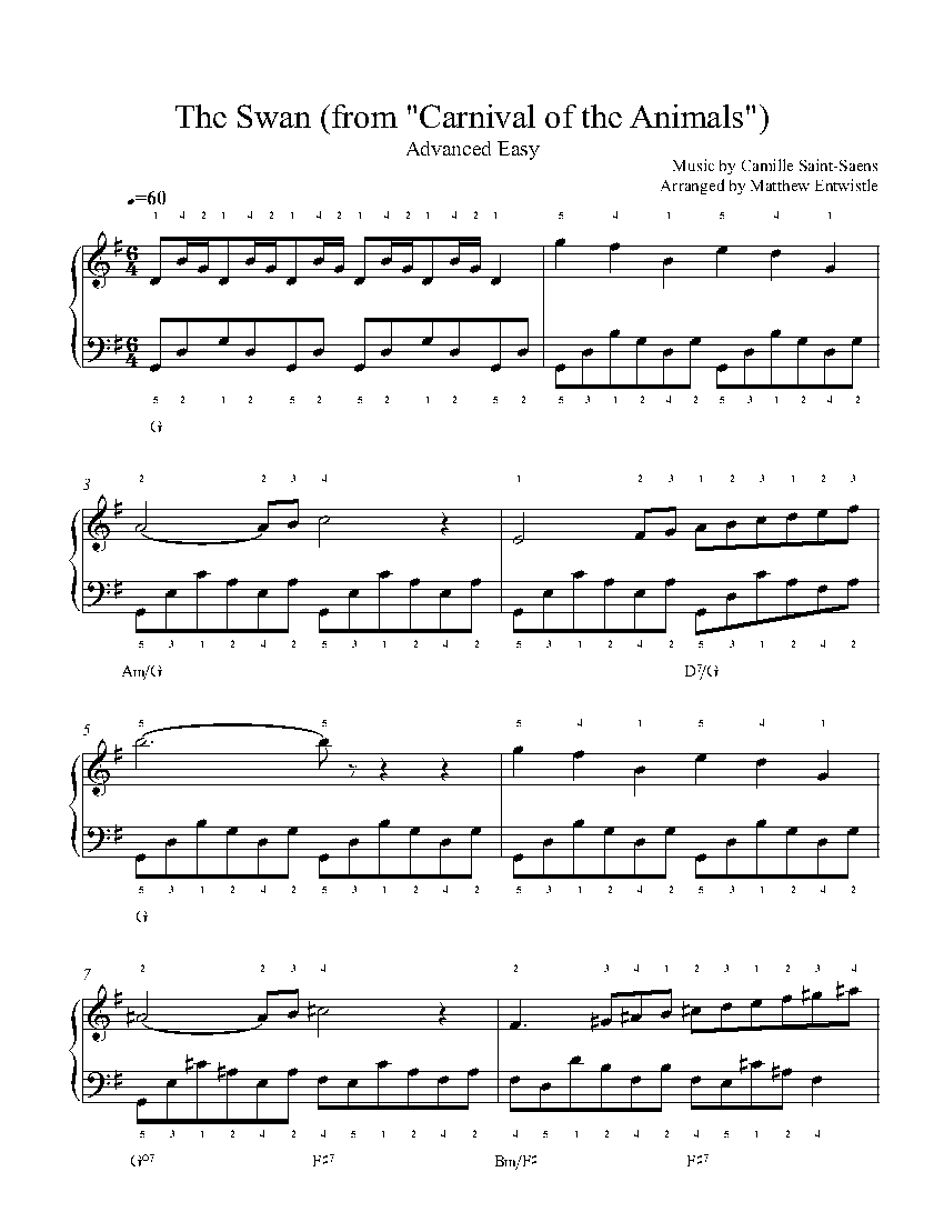 The Swan by Camille Saint-Saëns Piano Sheet Music | Advanced
