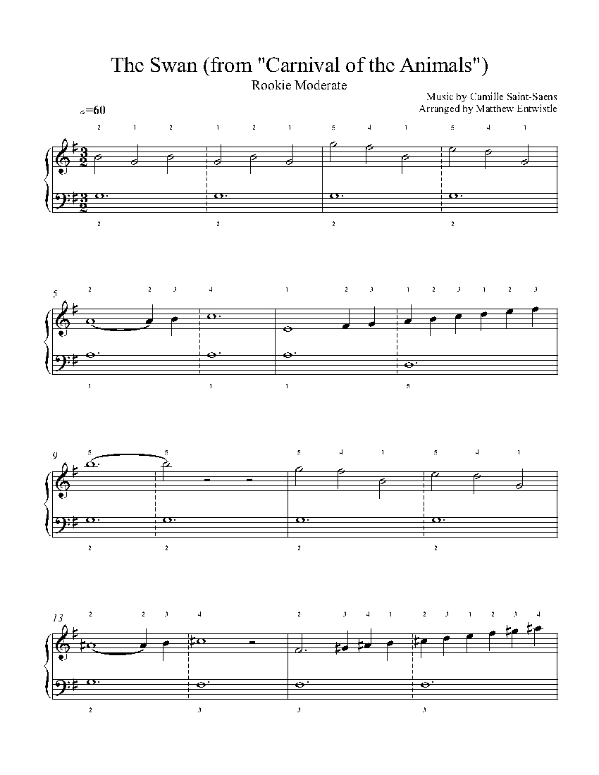 The Swan by Camille Saint-Saëns Piano Sheet Music | Rookie Level