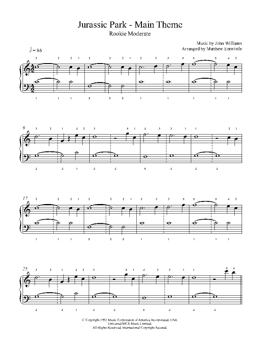 Jurassic park theme song piano sheet music free pdf