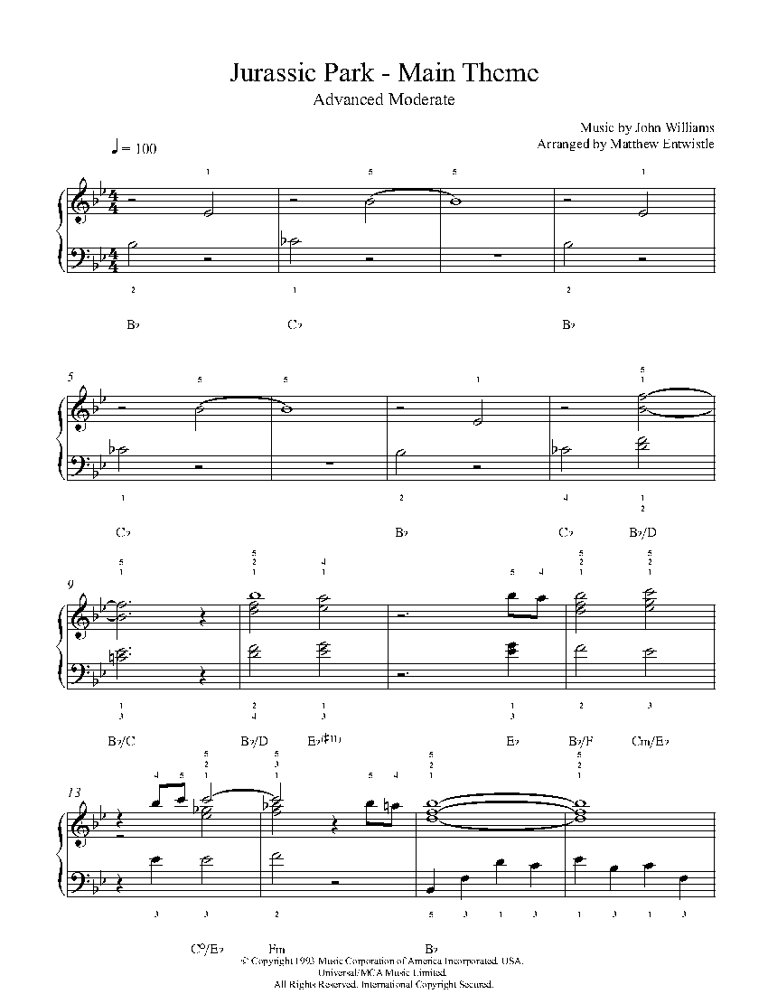 jurassic park theme song piano sheet music pdf