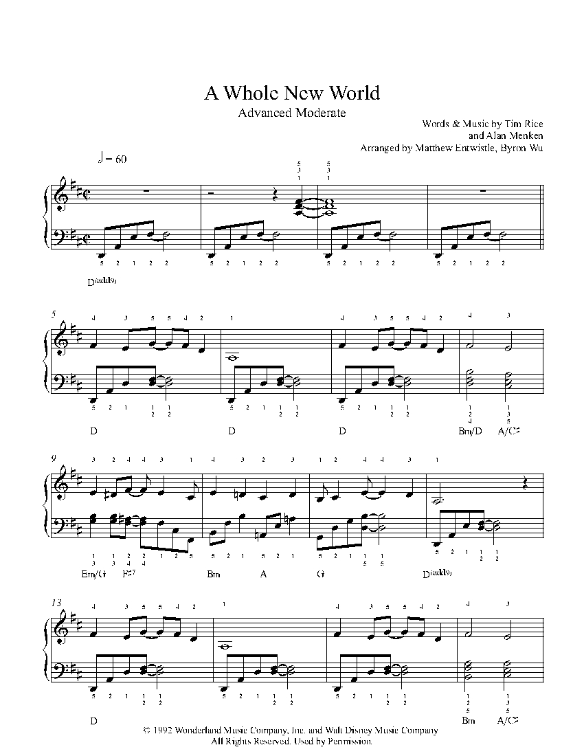 photograph regarding Free Printable Disney Sheet Music referred to as A Complete Fresh Worldwide by means of Alan Menken Piano Sheet Tunes
