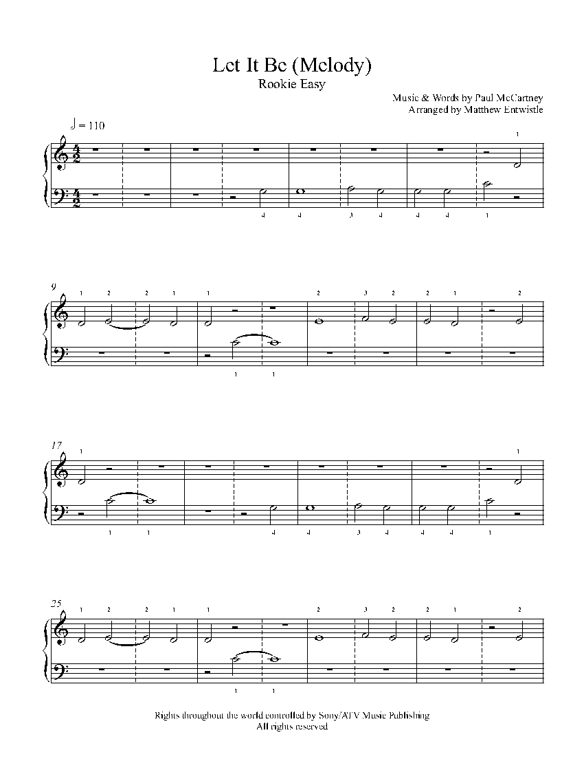 graphic about Let It Be Piano Sheet Music Free Printable called Make it possible for It Be (Melody) as a result of The Beatles Piano Sheet New music Newbie