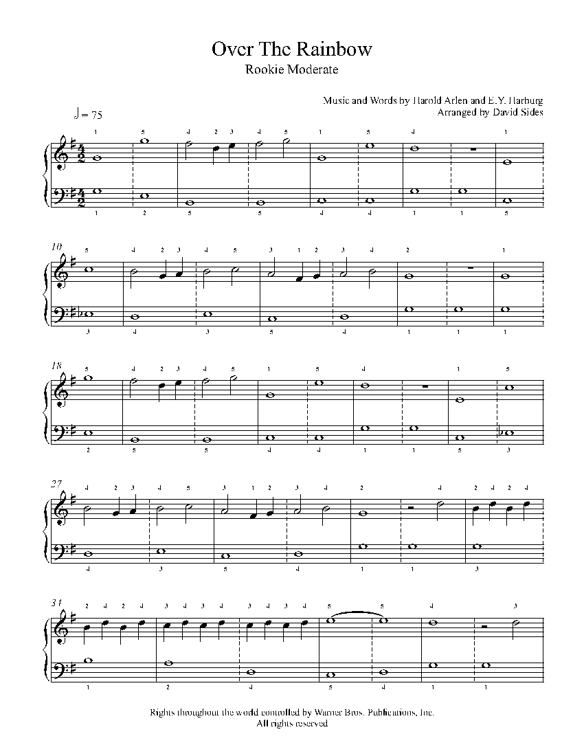 Over The Rainbow By Judy Garland Piano Sheet Music Rookie Level