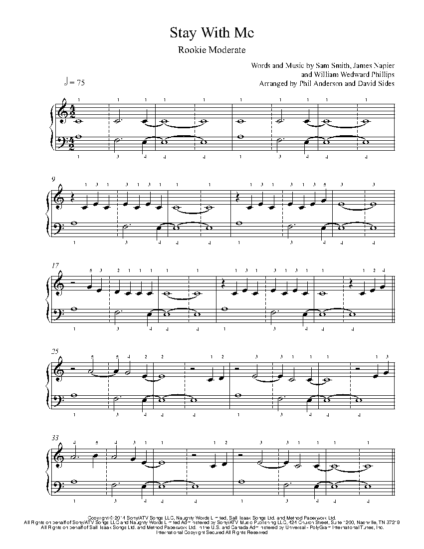 stay with me by sam smith piano sheet music rookie level. Black Bedroom Furniture Sets. Home Design Ideas