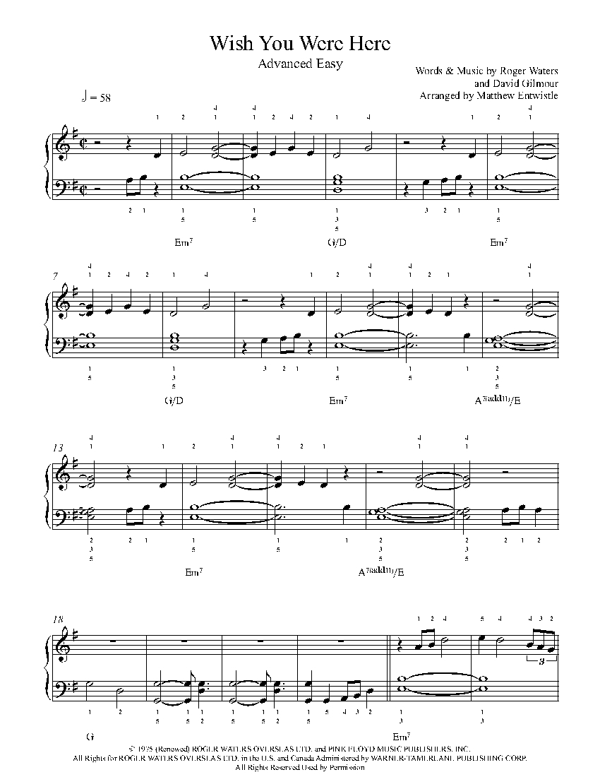 Wish You Were Here By Pink Floyd Piano Sheet Music Advanced Level