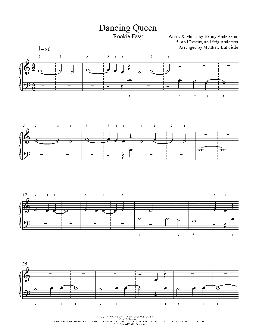 Dancing Queen Melody By Abba Piano Sheet Music Rookie Level