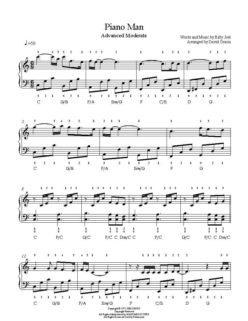 Piano Man By Billy Joel Piano Sheet Music Advanced Level