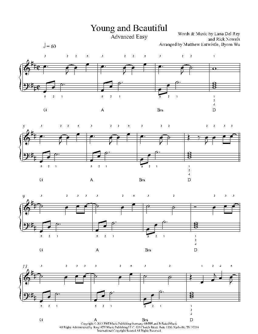 Young and Beautiful by Lana Del Rey Piano Sheet Music
