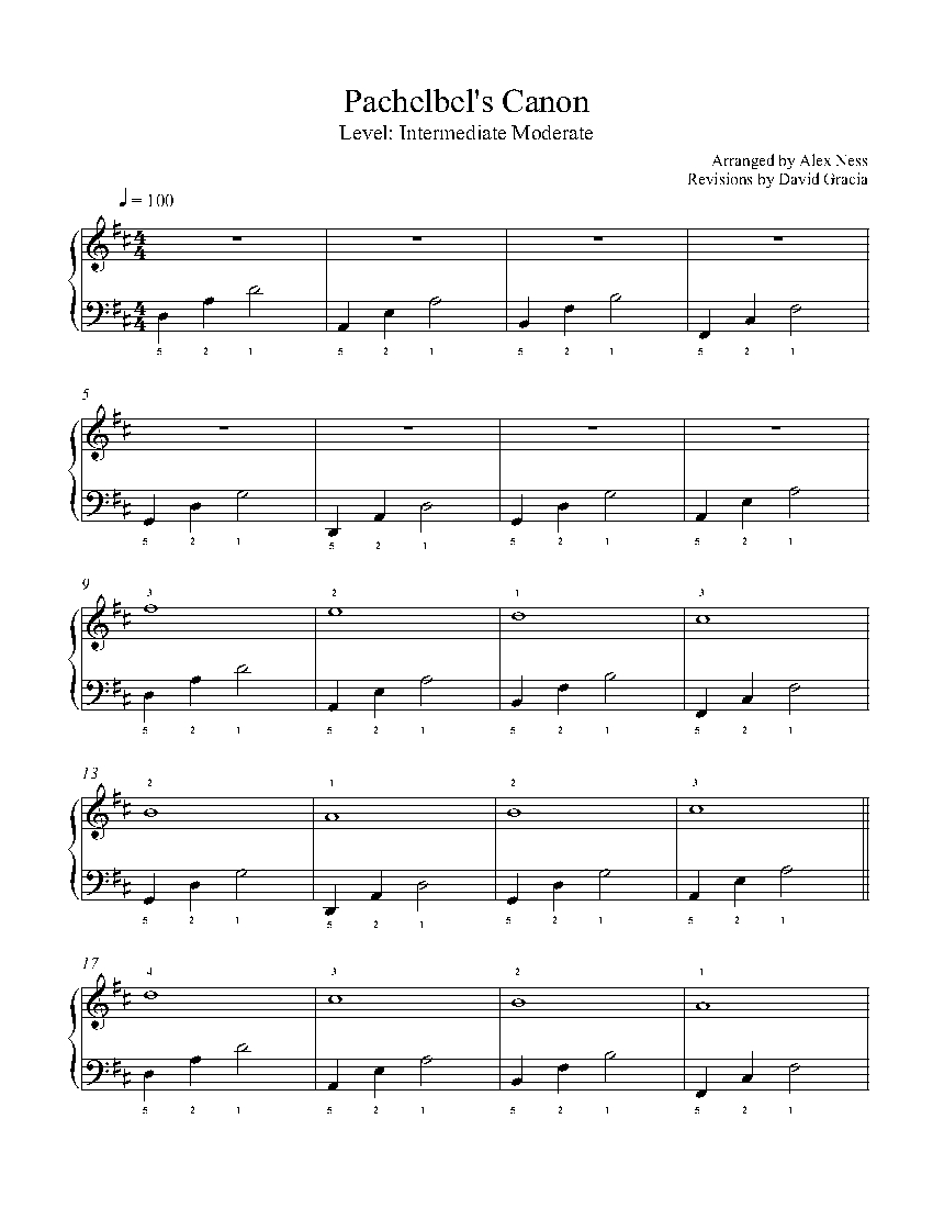 Canon In D By Pachelbel Piano Sheet Music Intermediate Level