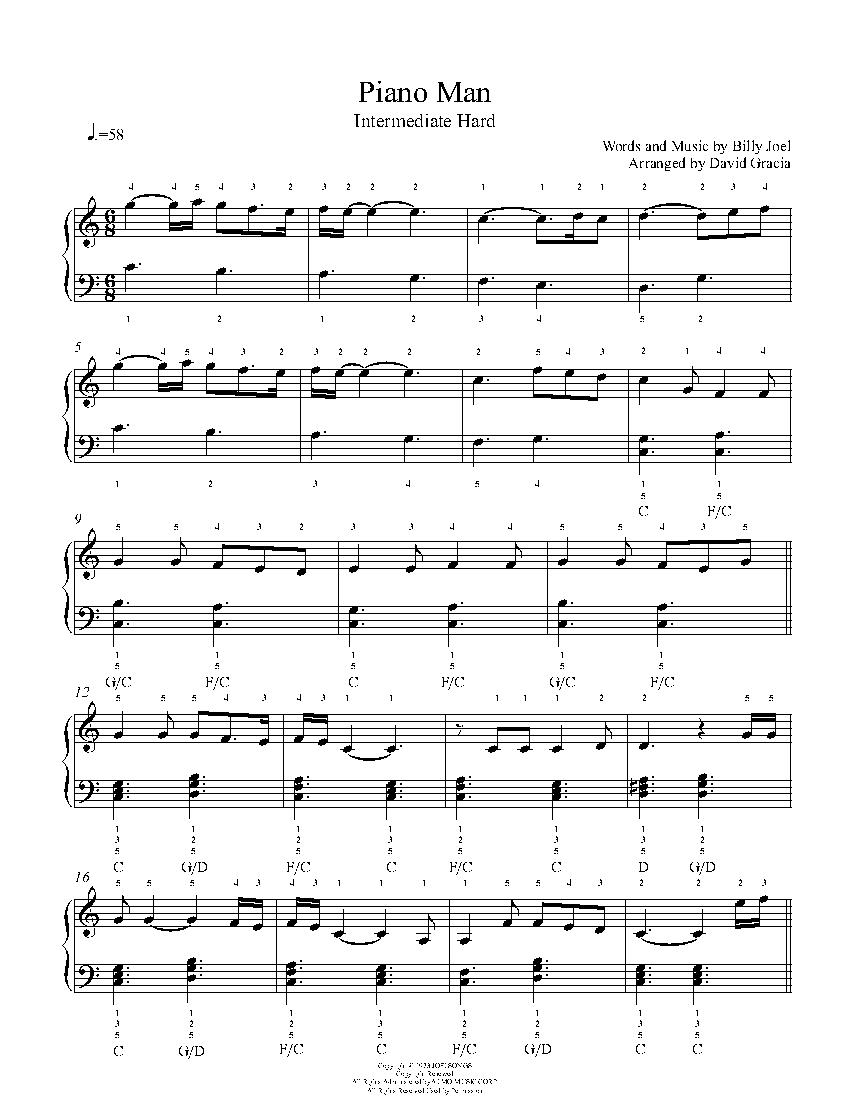 Piano Man By Billy Joel Piano Sheet Music Intermediate Level