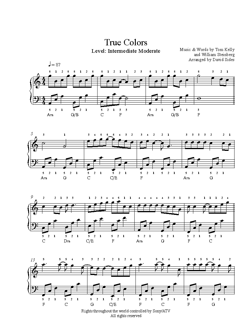 True Colors By Cyndi Lauper Piano Sheet Music Intermediate Level