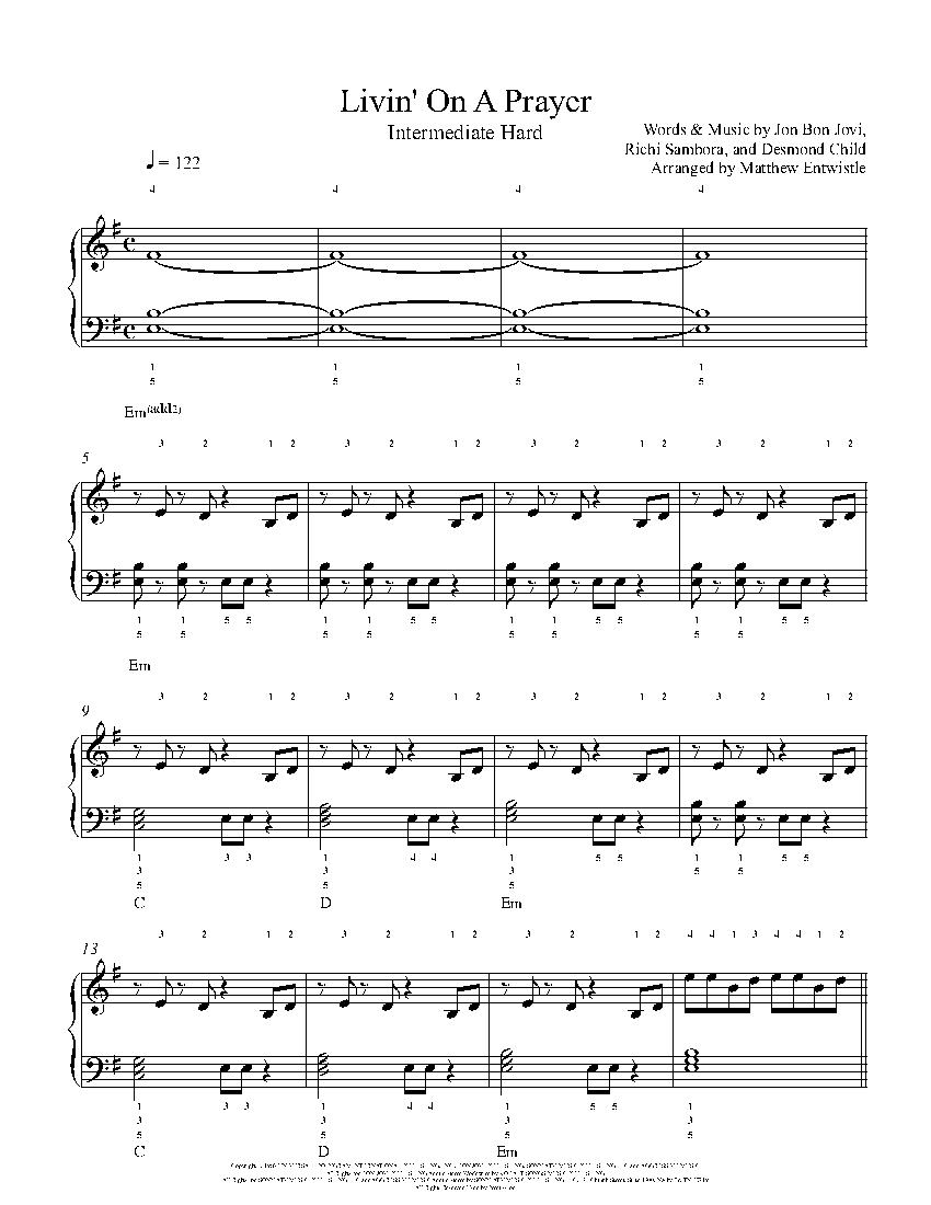 Livin' On A Prayer by Bon Jovi Piano Sheet Music   Intermediate Level