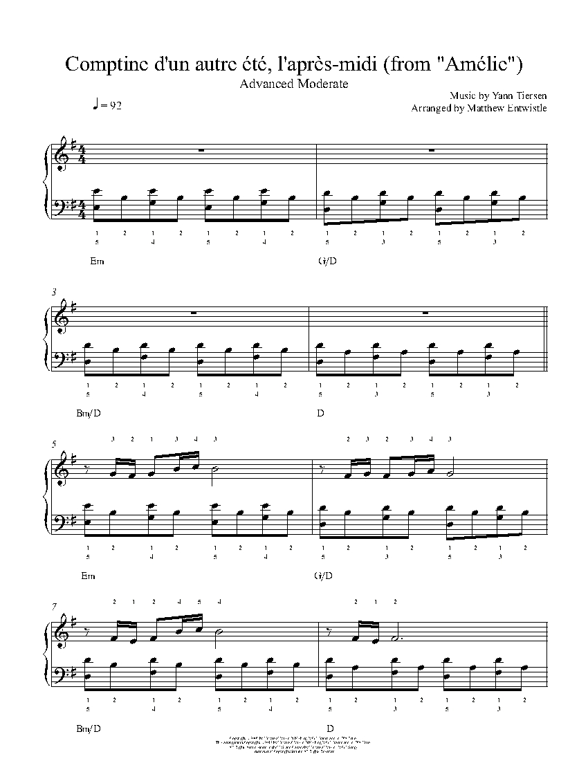 Comptine Dun Autre Ete By Yann Tiersen Piano Sheet Music