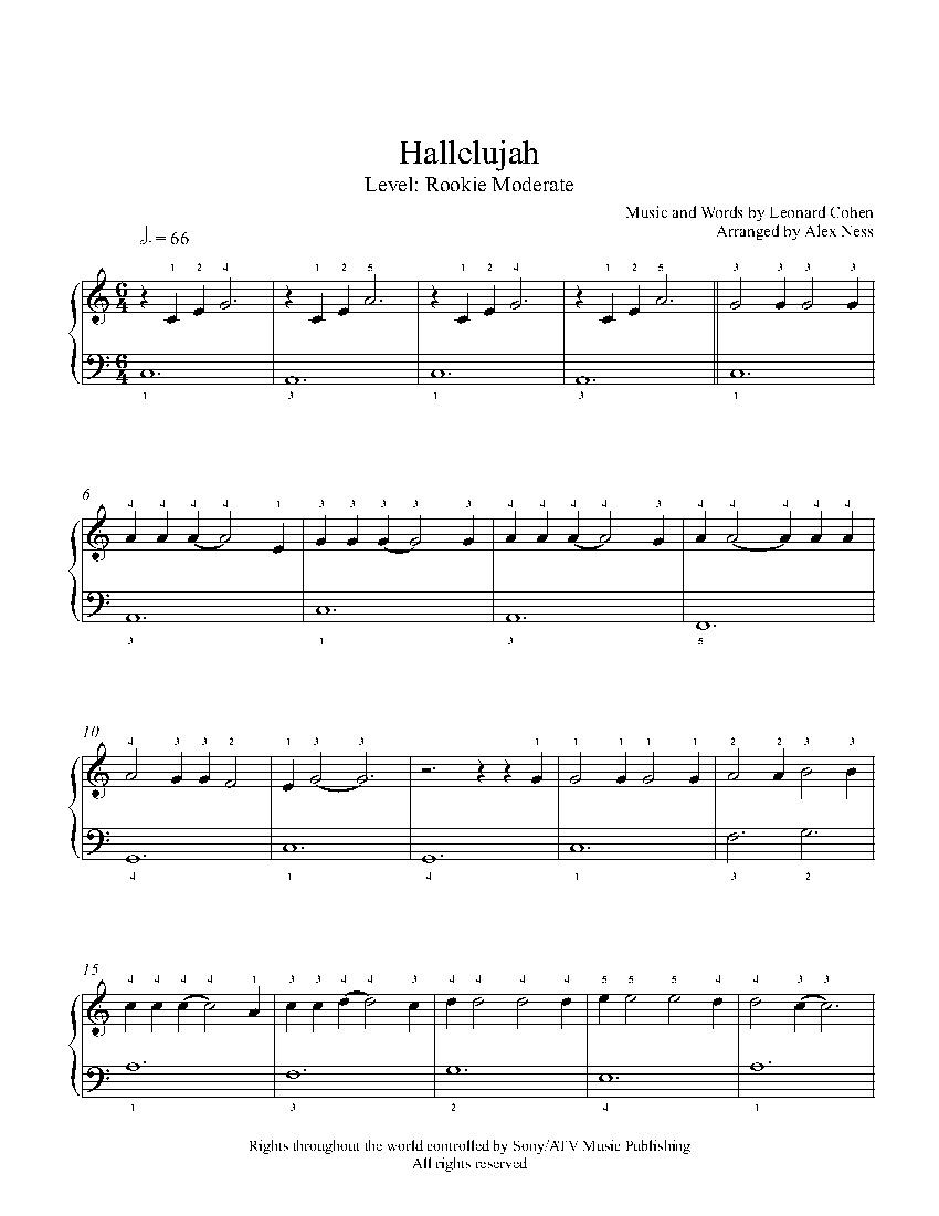 Hallelujah By Jeff Buckley Piano Sheet Music Rookie Level
