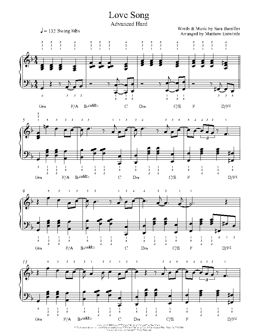 Love Song by Sara Bareilles Piano Sheet Music | Advanced Level