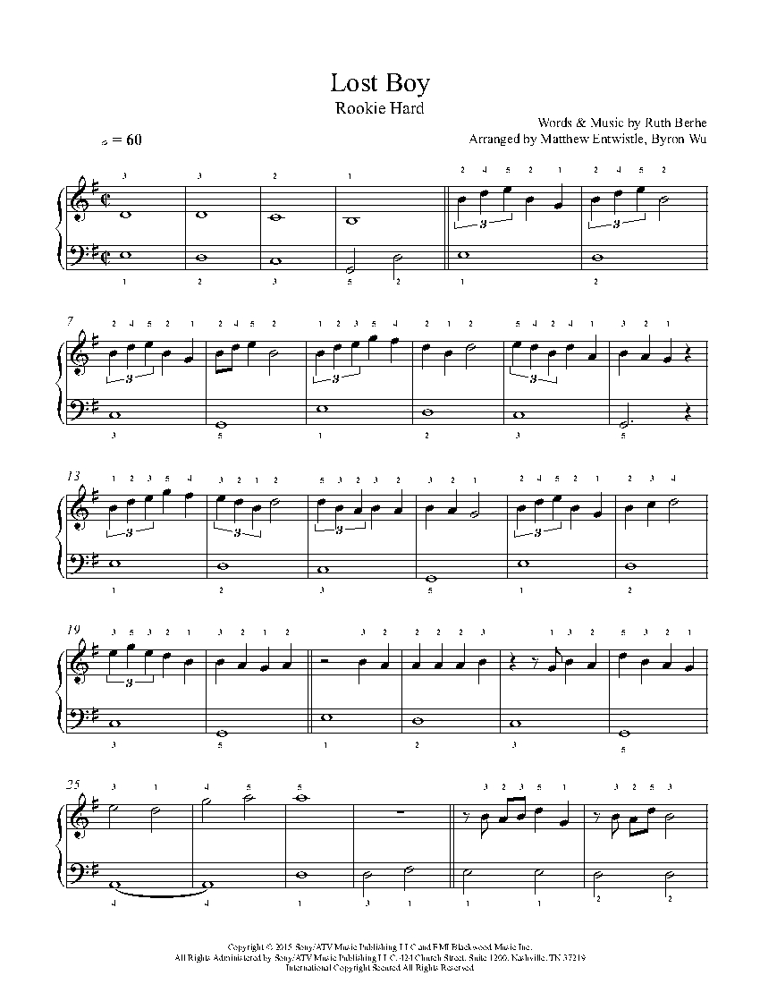 photo relating to Lost Boy Piano Sheet Music Free Printable referred to as Dropped Boy by means of Ruth B Piano Sheet Tunes Novice Stage
